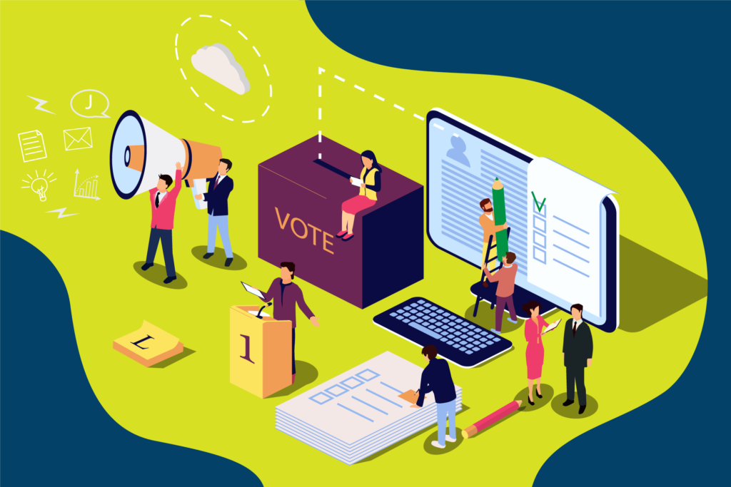 Isometric illustration of people interacting with oversized voting objects.